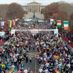 Philadelphia, PA, united States, November 18, 2012, 700am: Arial shot of marathon runners at the start of the 19th Philadelphia Marathon.